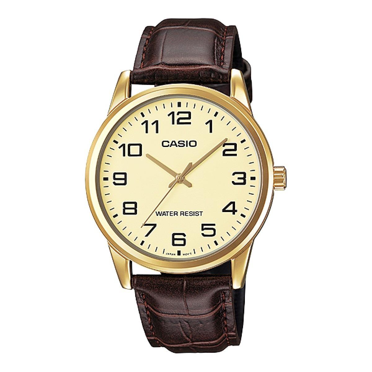 0171b4489cf relógio casio classic couro dourado mtp-v001gl-9budf. Carregando zoom.