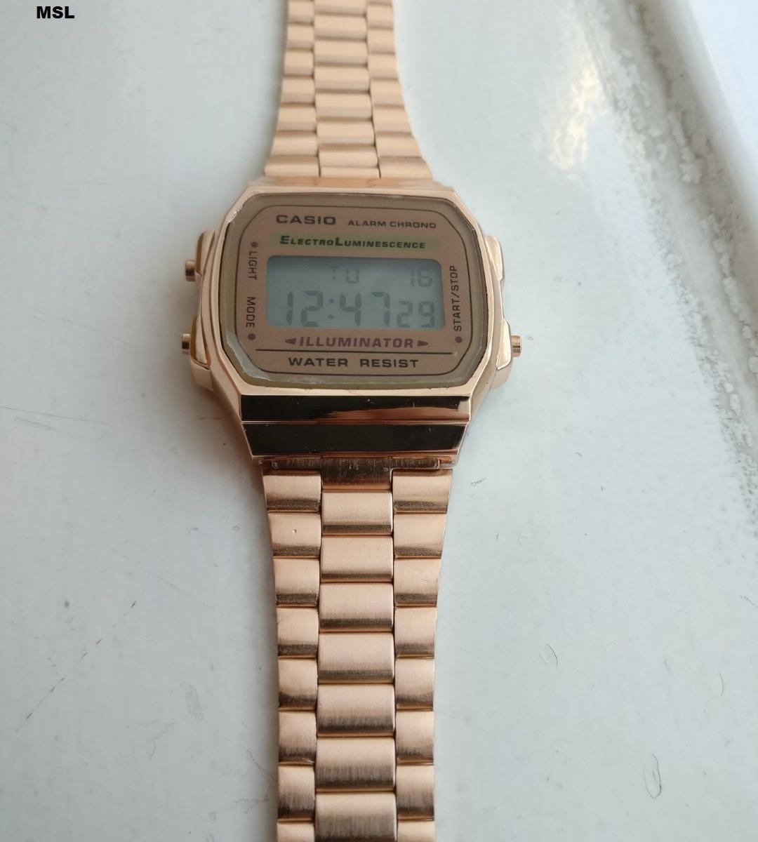 cb1047bfdc8 Relógio Casio Clássico Retrô Unissex Digital Ouro Rosé + Cx - R  129 ...