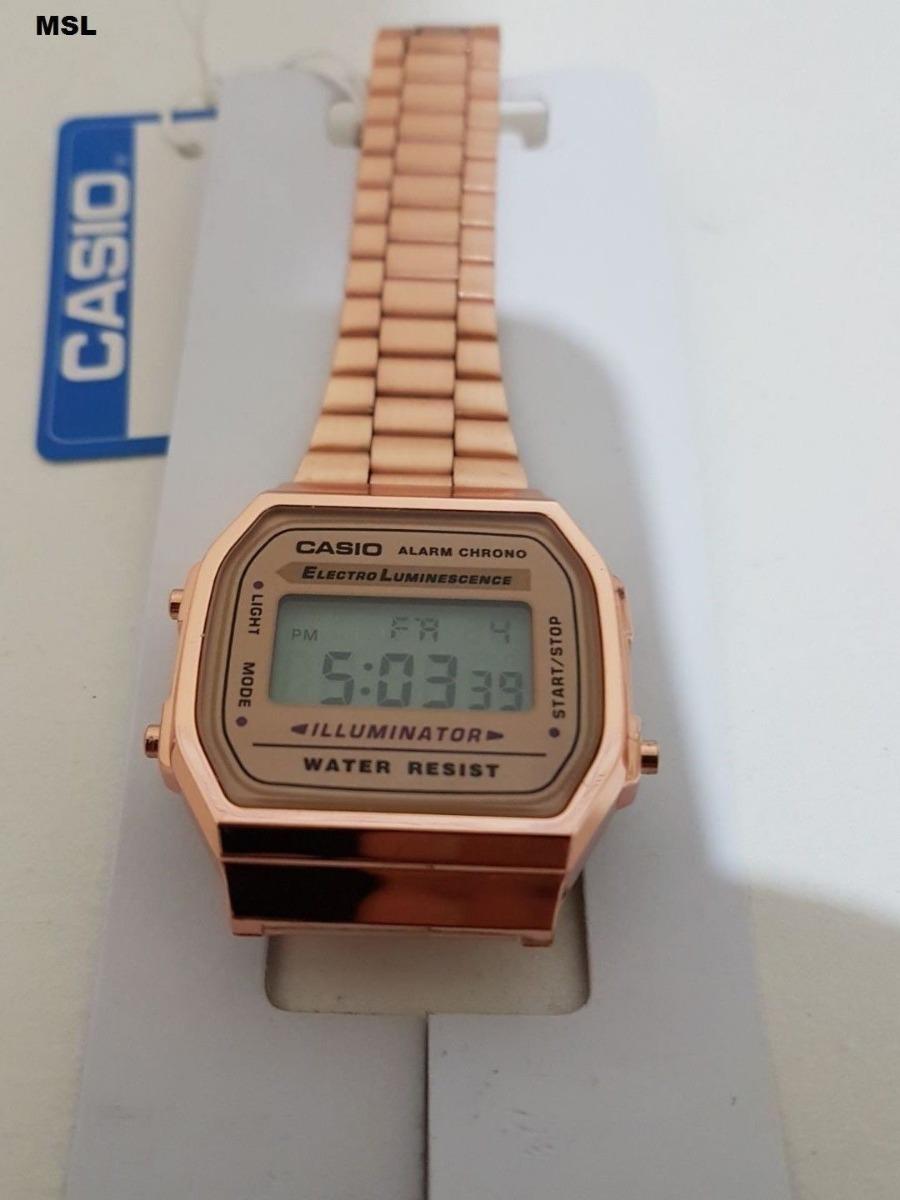 da5d9c20e1d Relógio Casio Clássico Retrô Unissex Digital Ouro Rosé + Cx - R  129 ...