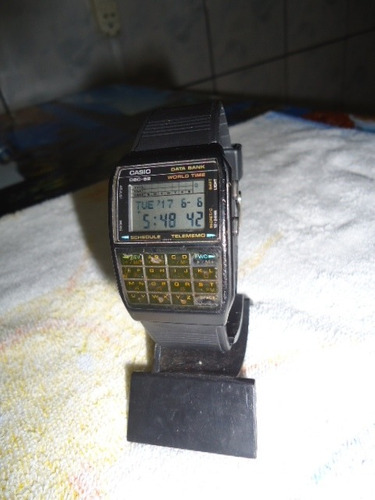 relógio casio data bank world time made in japan