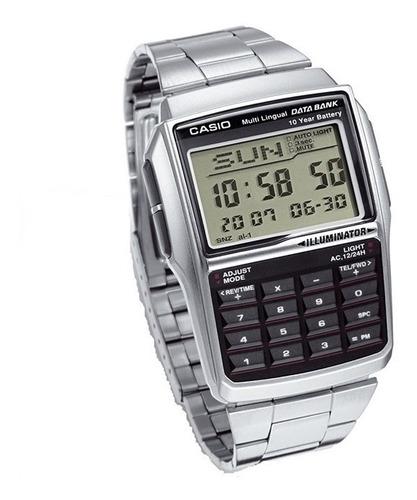 relógio casio dbc-32d aço 25 data bank calculadora crono