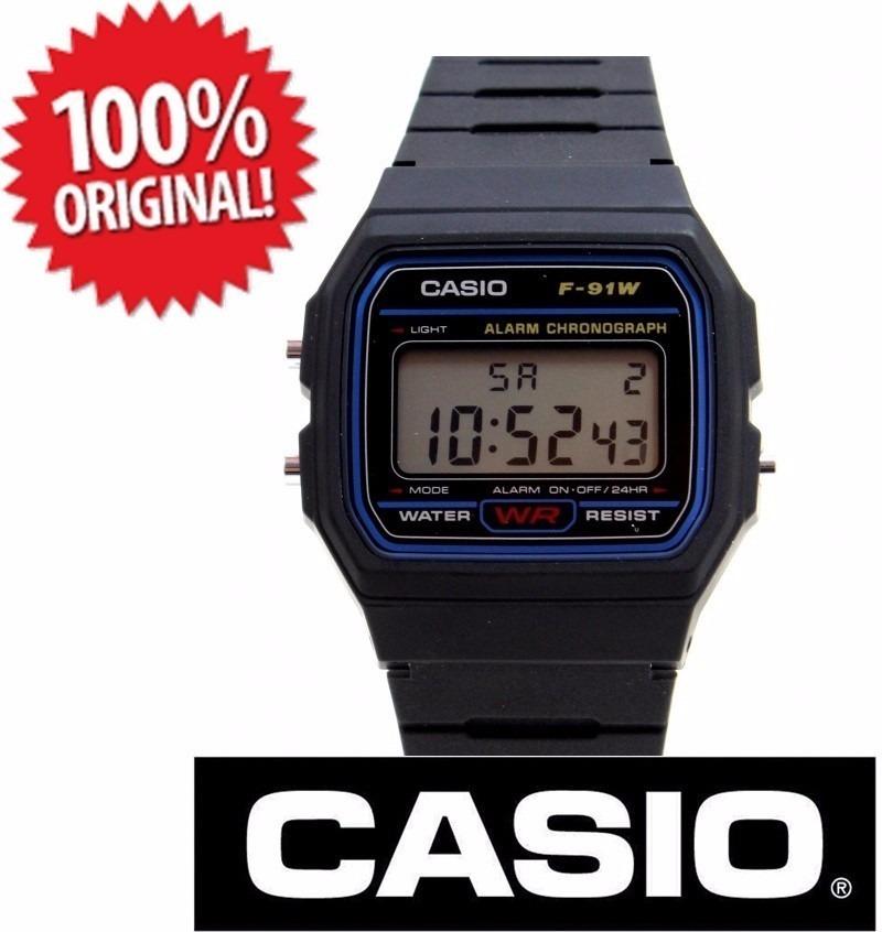 2b31994c5 relogio casio digital 100% original f-91w - preto série azul. Carregando  zoom.