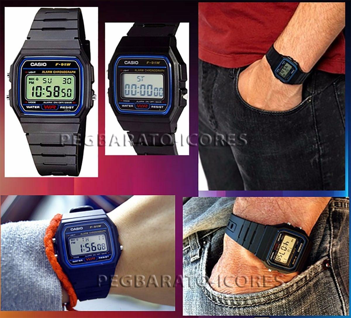 9691371ba relogio casio digital 100% original f-91w preto série azul. Carregando zoom.