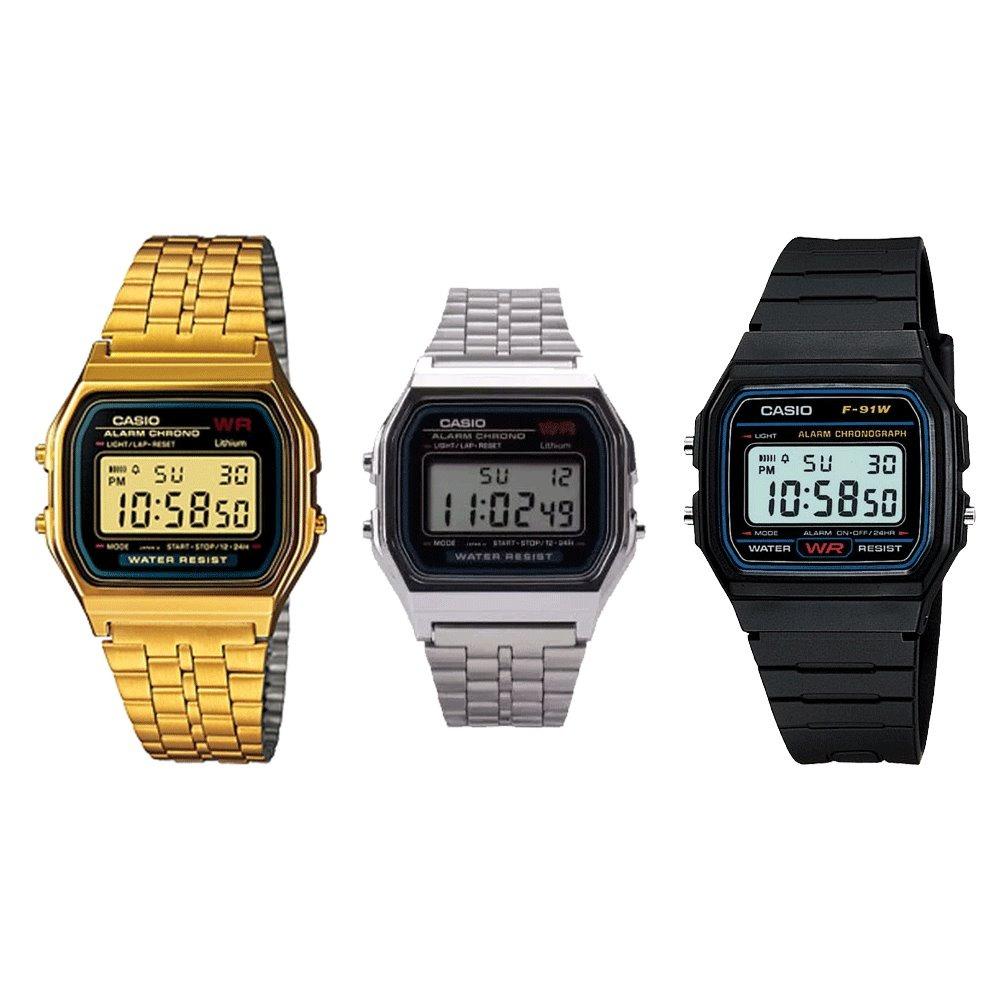 7eaa35562ae relógio casio digital aço unisex prata preto dourado. Carregando zoom.