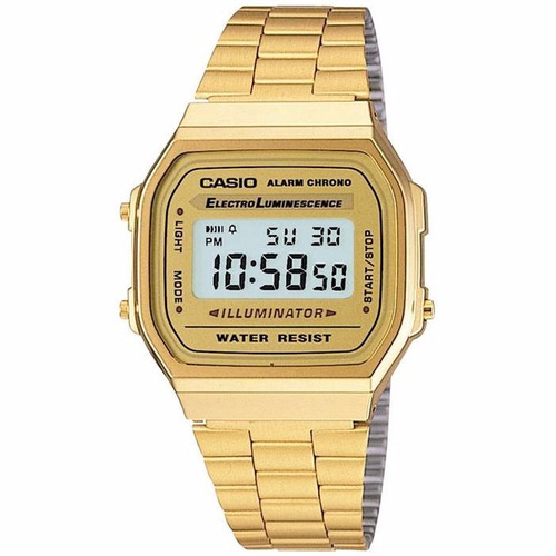 relógio casio digital aço vintage unisex prata dourado