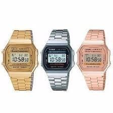 8701409730f Relógio Casio Digital Aço Vintage Unisex Prata Dourado Novo - R  51 ...