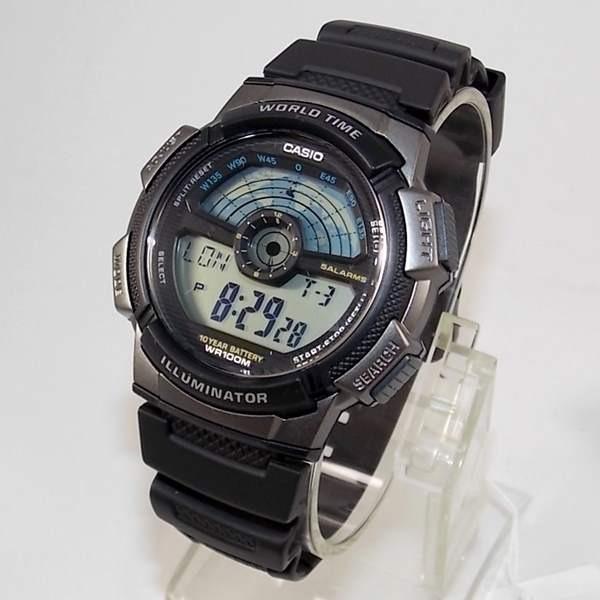e68cb2ce6f1 Relógio Casio Digital Ae-1100w-1av Hora Mundi Wr100 Metros - R  189 ...