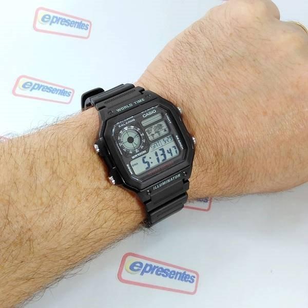 e115e87aaa1 Relógio Casio Digital Ae-1200 Wh-1av Bateria 10anos Wr100 - R  219 ...