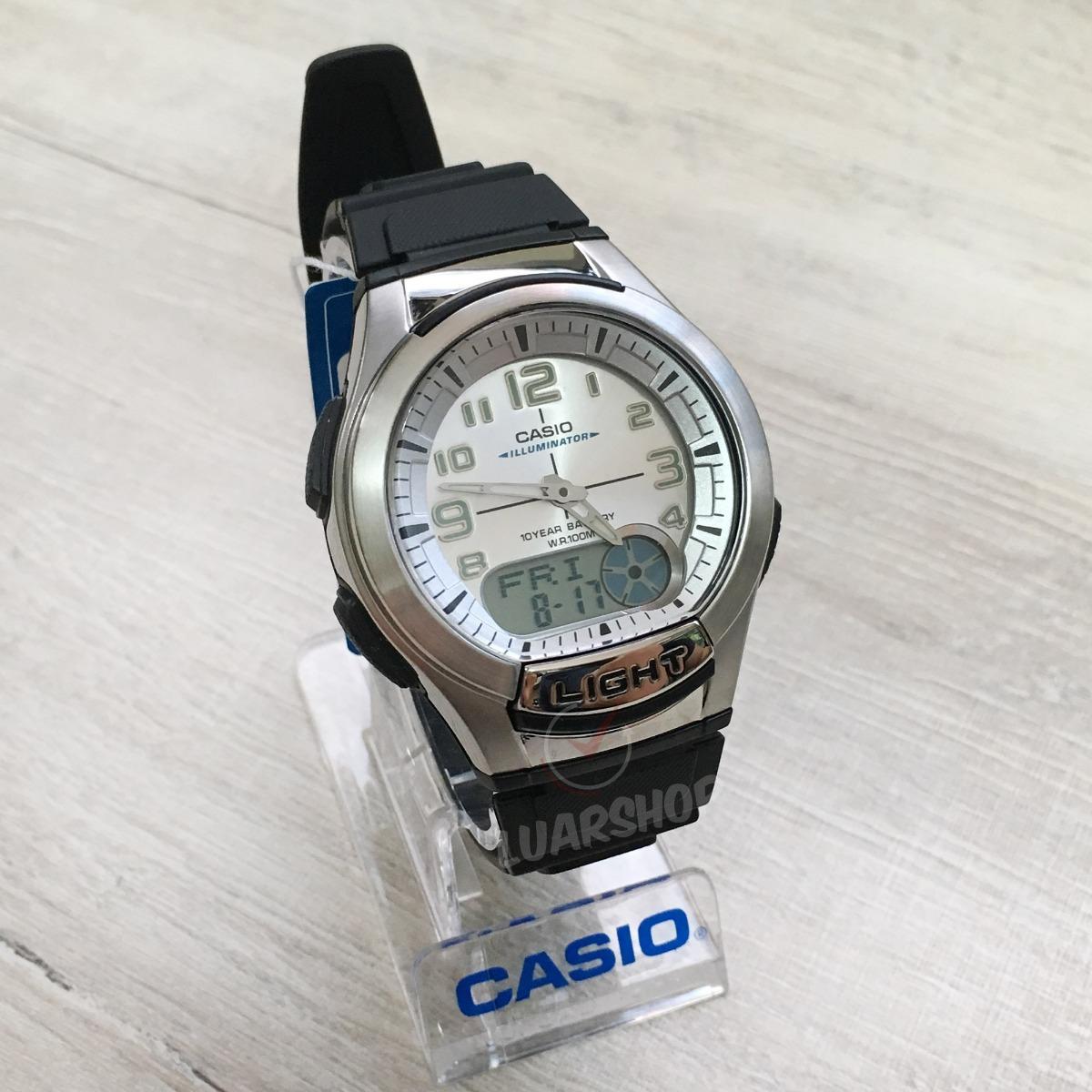3730f343848 relógio casio digital analogico aq-180w-7b databank original. Carregando  zoom.