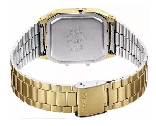 relogio casio digital analogico dourado branco + caixa metal