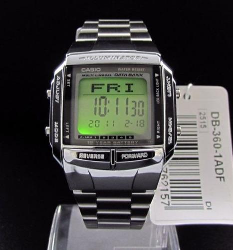 relógio casio digital data bank prata db-360-1adf c/ caixa