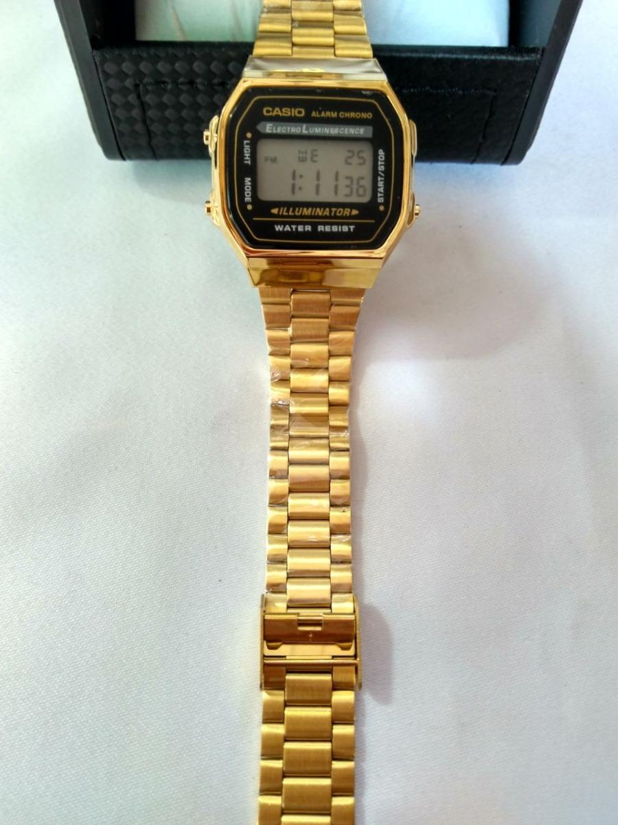 25802b296f2 relógio casio digital dourado visor preto aprova d´água. Carregando zoom.