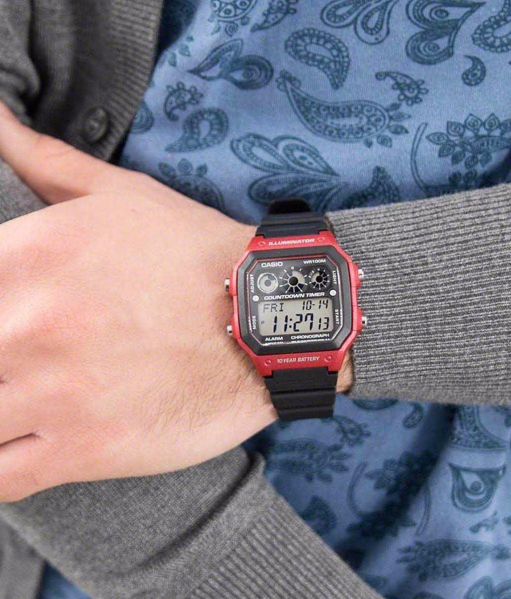 21ef6e8d970 relógio casio digital esportivo ae-1300wh-4avdf vermelho. Carregando zoom.