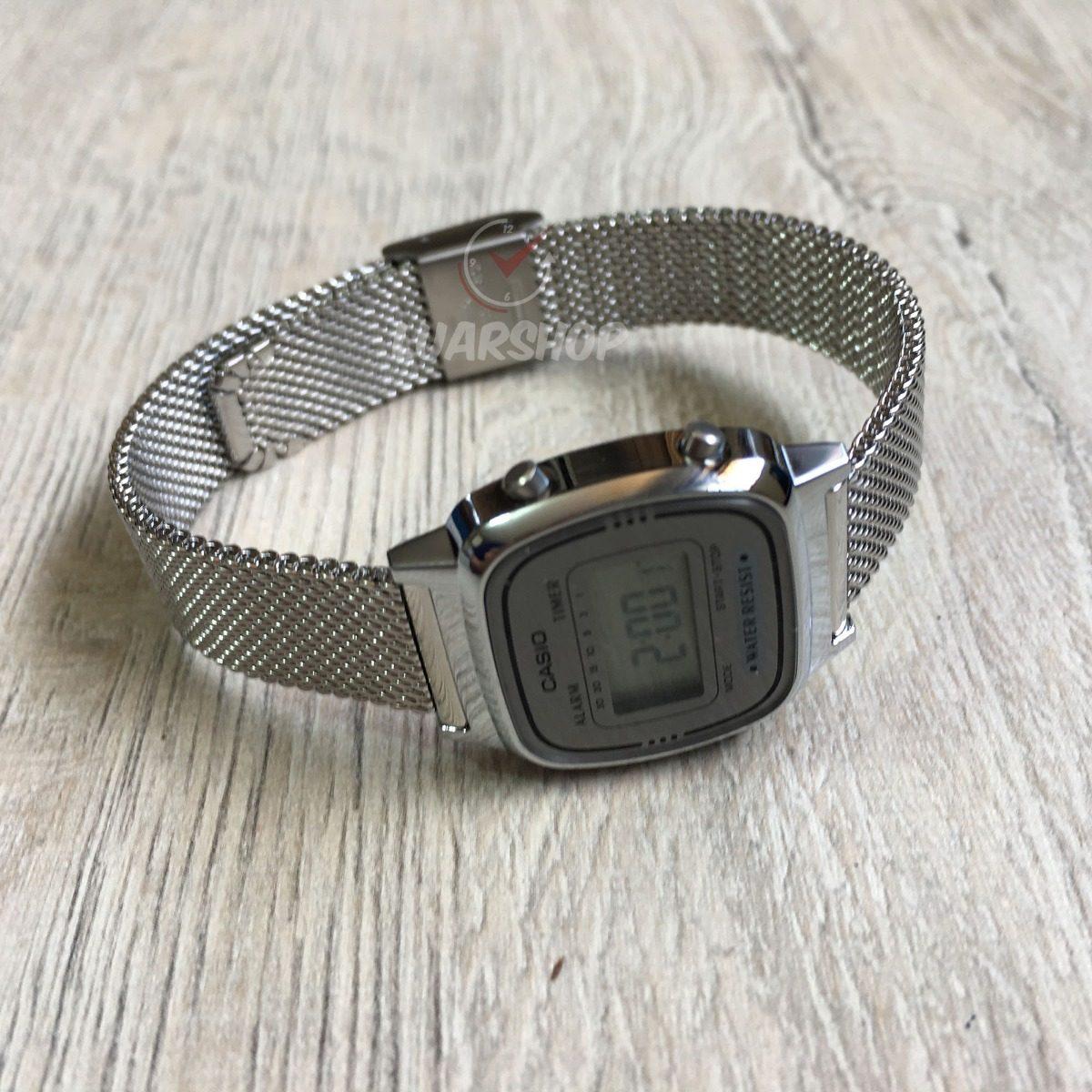 f2dabcf76e0 relógio casio digital mini feminino la670wem prata original. Carregando  zoom.