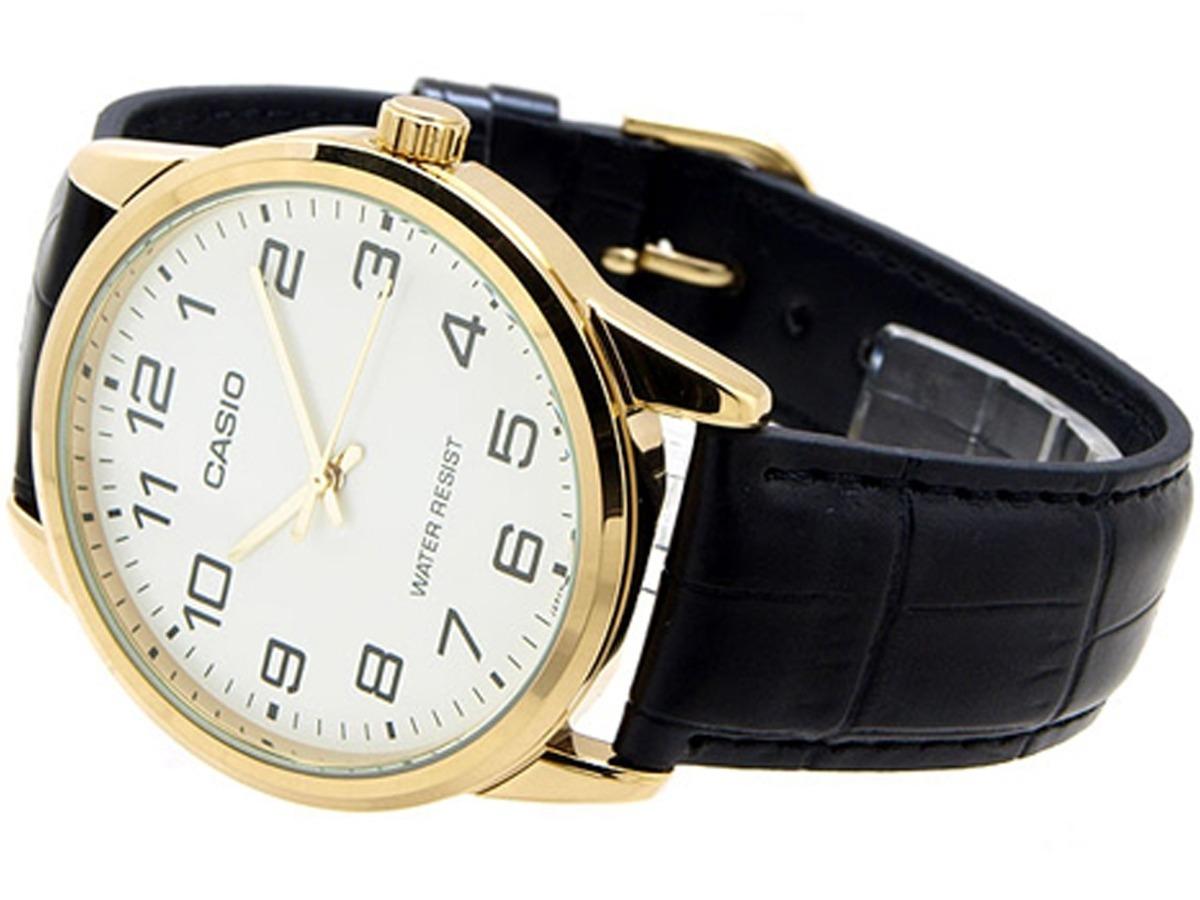 37e44ca6854 relógio casio dourado clássico couro mtp-v001gl-7budf. Carregando zoom.
