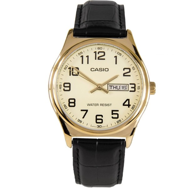 6bc4c7e6913 Relógio Casio Dourado Clássico Couro Mtp-v003gl-9budf - R  199