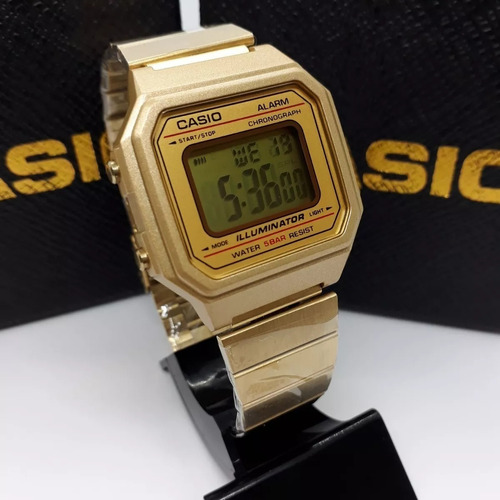 relógio casio dourado gold b650wd-1adf feminino aço digital