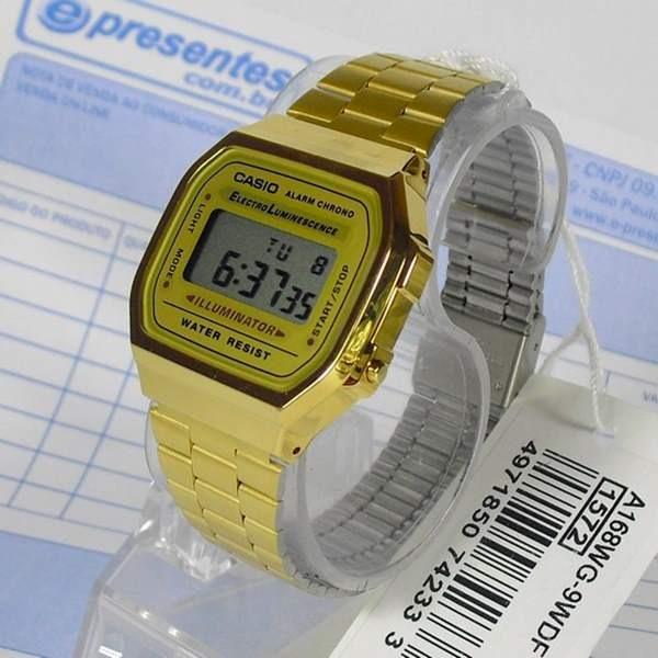 db303bc2804 Relógio Casio Dourado Retrô A168wg-9 - 100% Original - R  259
