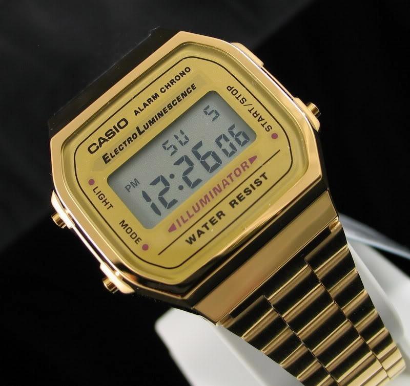 b4587c32759 relogio casio dourado unissex a168 retrô original completo. Carregando zoom.
