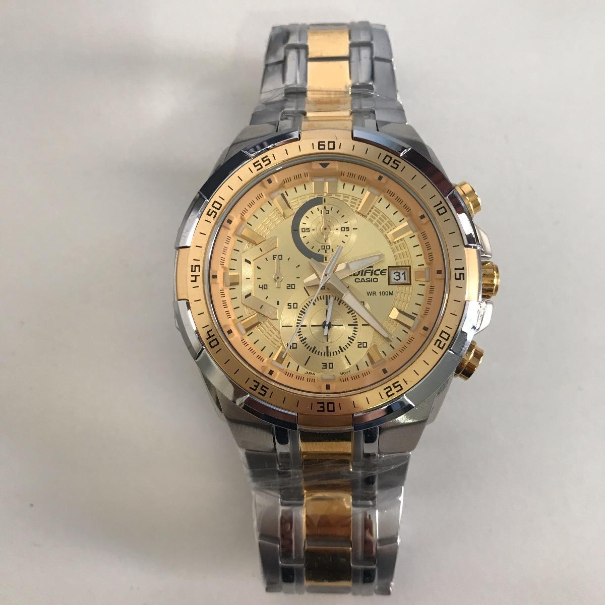 8a025bff15c relógio casio edifice ef-539 masculino prata fundo dourado. Carregando zoom.