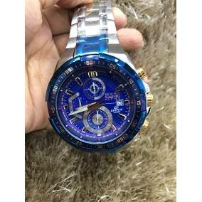 2cb4b201bbb Relogio Casio Edifice Ef 539 Prata Fundo Azul Original Top - R  194 ...
