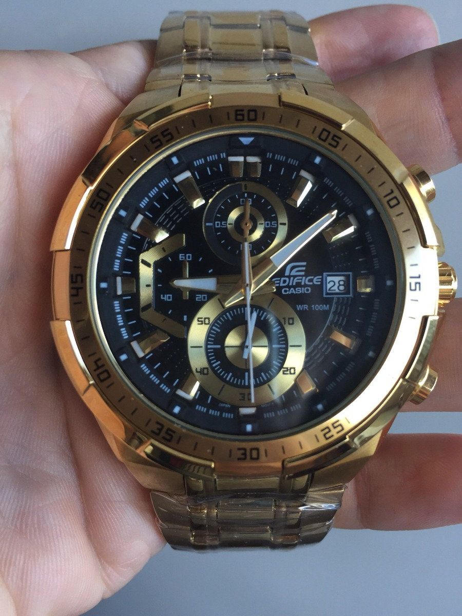 5dc31baaeb5 relógio casio edifice ef 539dv dourado com fundo preto. Carregando zoom.