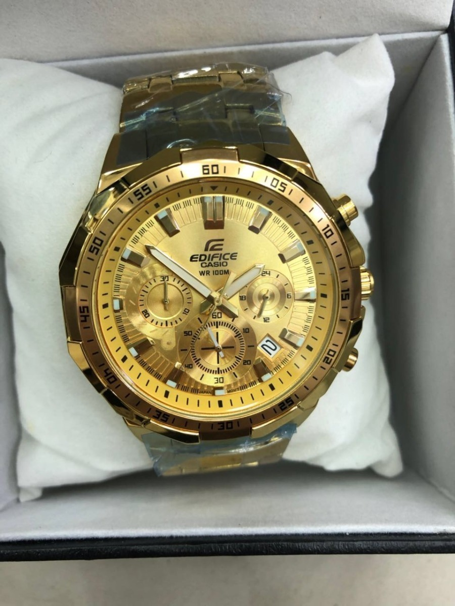 d6d18f7fe8f relógio casio edifice ef 554 todo dourado wr 100m novo. Carregando zoom.