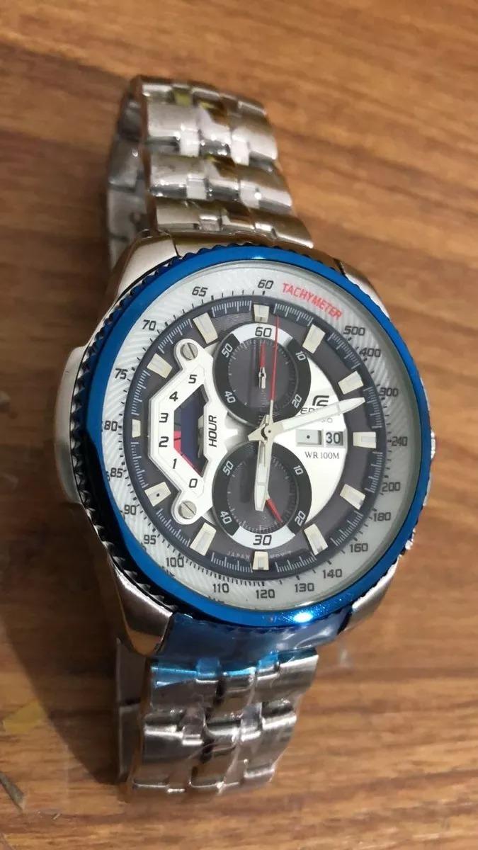 ed3254c7d577 relógio casio edifice ef-558 azul prata original promocao. Carregando zoom.