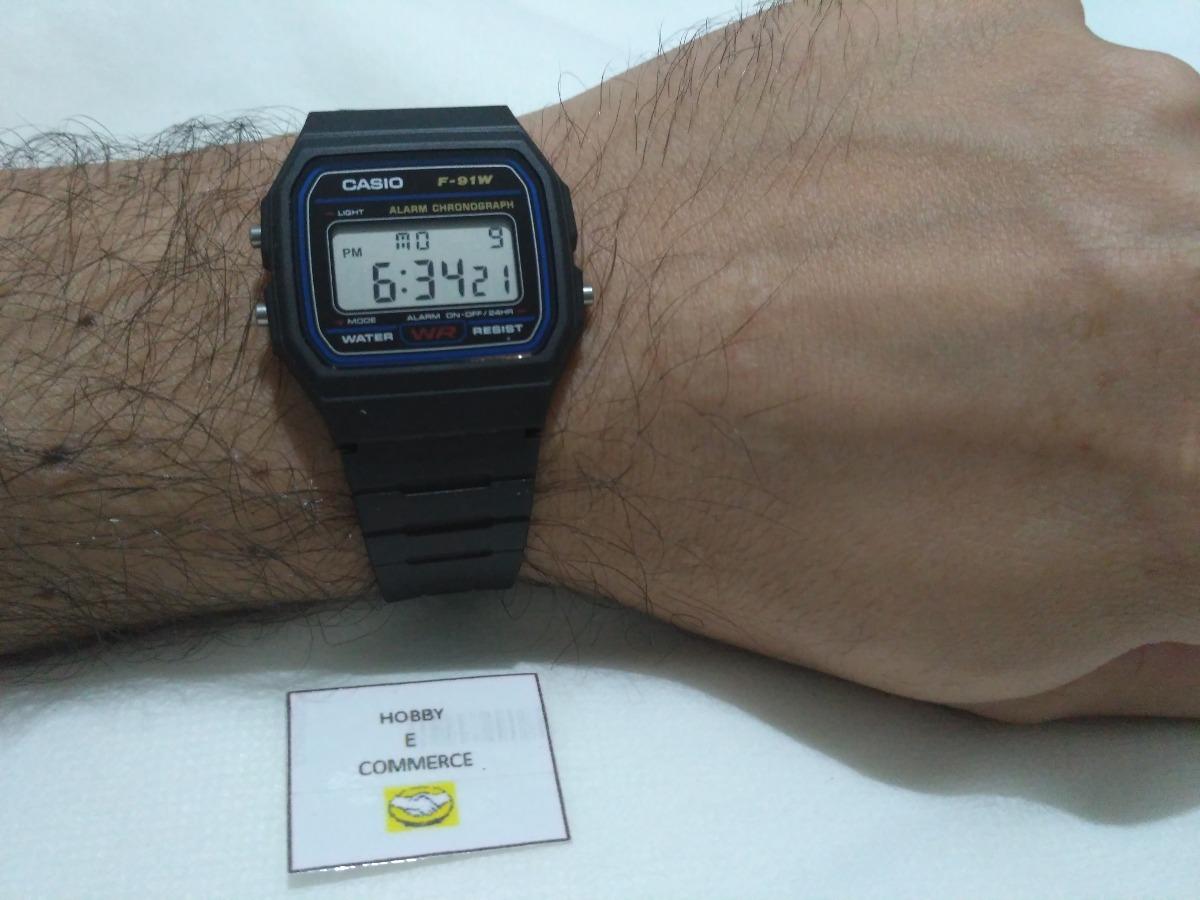 f817b3e5b relógio casio f-91w 100%original série azul prova d água. Carregando zoom.