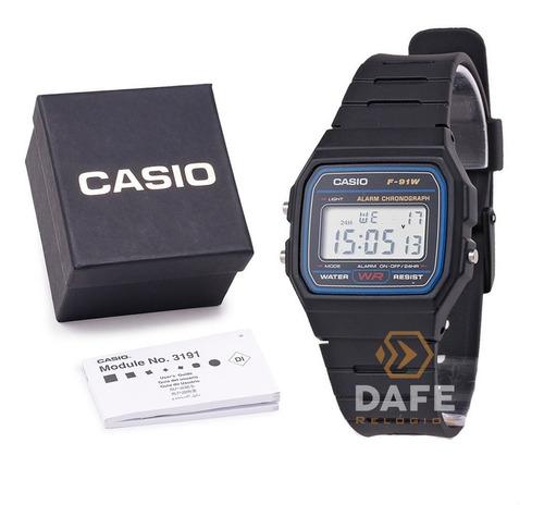 relógio casio f-91w série prata unissex original c caixa nf