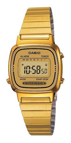 relógio casio feminino digital vintage dourado la670wga9df