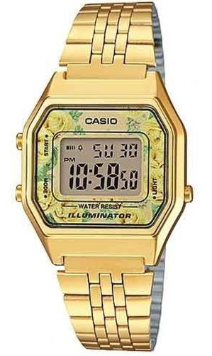relógio casio feminino dourado digital floral la680wga-9cdf