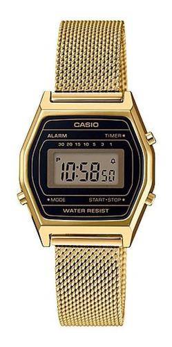 relógio casio feminino dourado digital la690wemy-1df