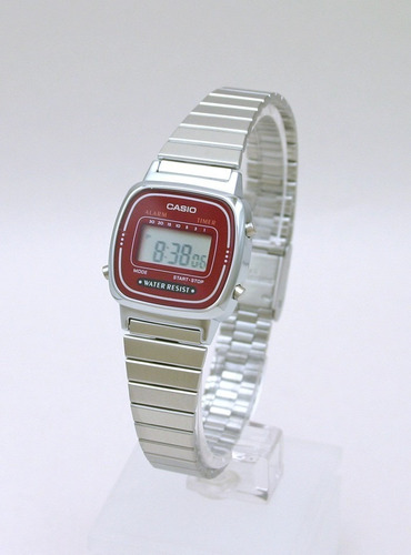 relógio casio feminino la 670 prata vinho ( tamanho mini)