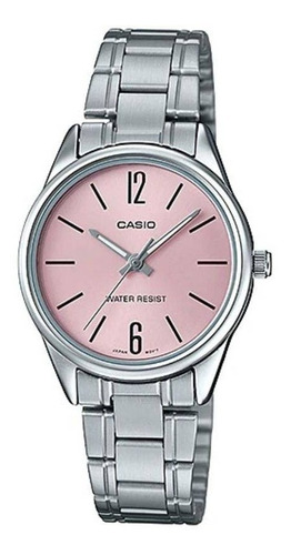 relogio casio feminino ltp-v005d 4bu prata rosa analogico