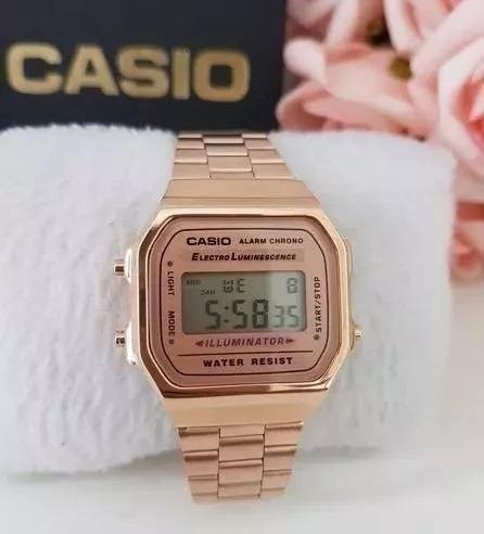 relogio casio feminino ouro rosa +caixa -só até domingo-ca02
