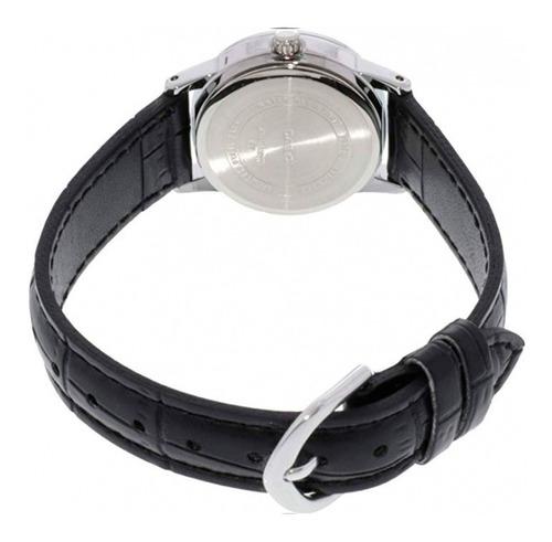 relógio casio feminino prata couro preto + nf