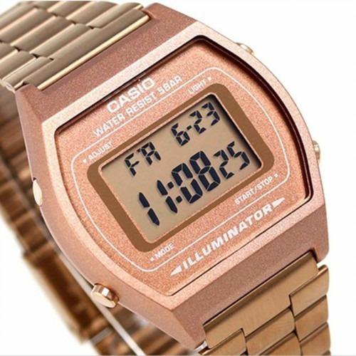 relógio casio feminino vintage rosê b640wc-5adf original