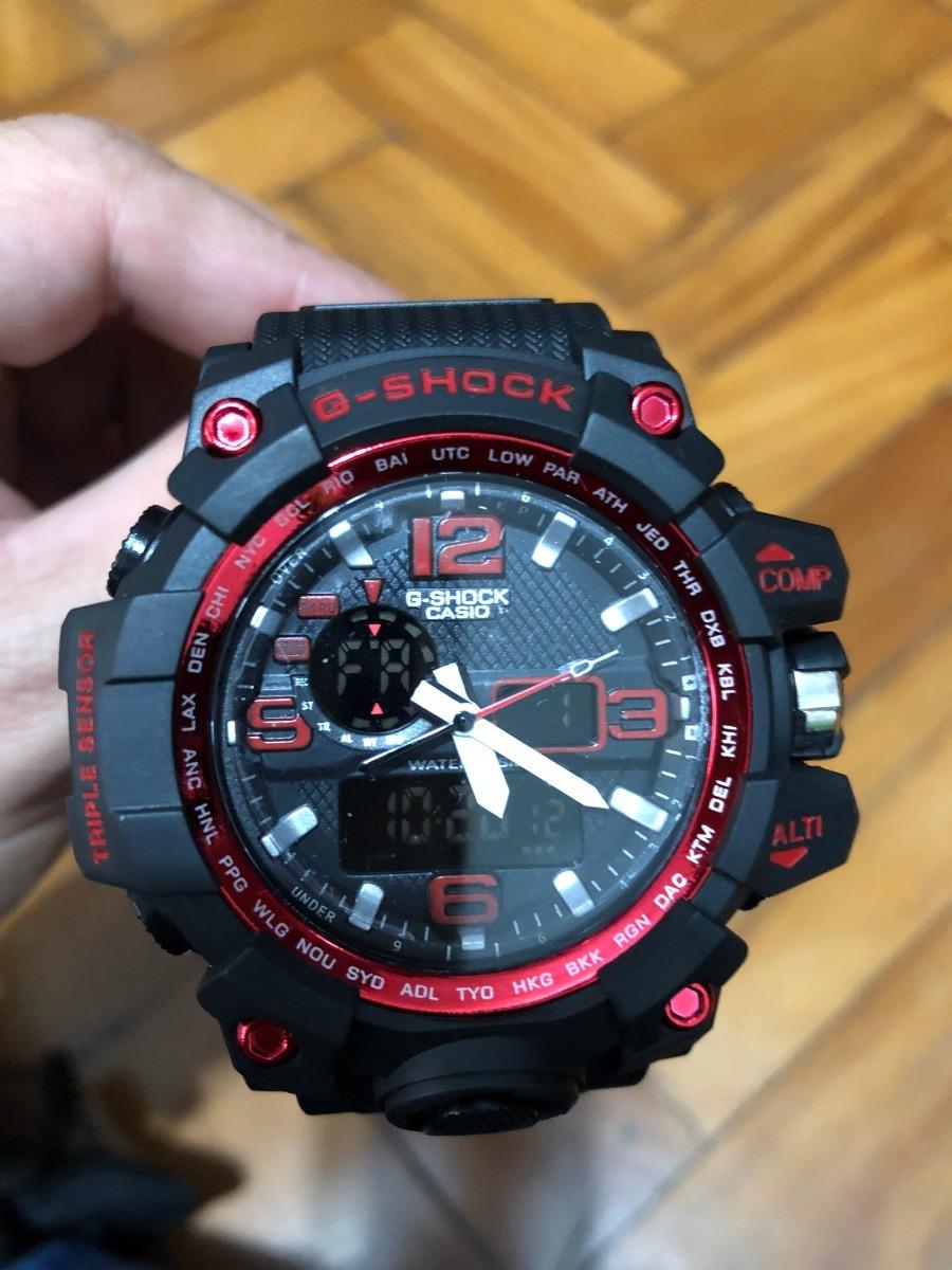 d30ef5bf8fe Relogio Casio G-shock Analogico E Digital Cor Vermelho - R  85