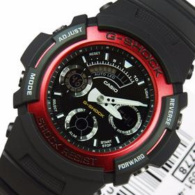 Relógio Casio G-shock Aw-591-4adr Ana-digi Detalhe Em Vinho