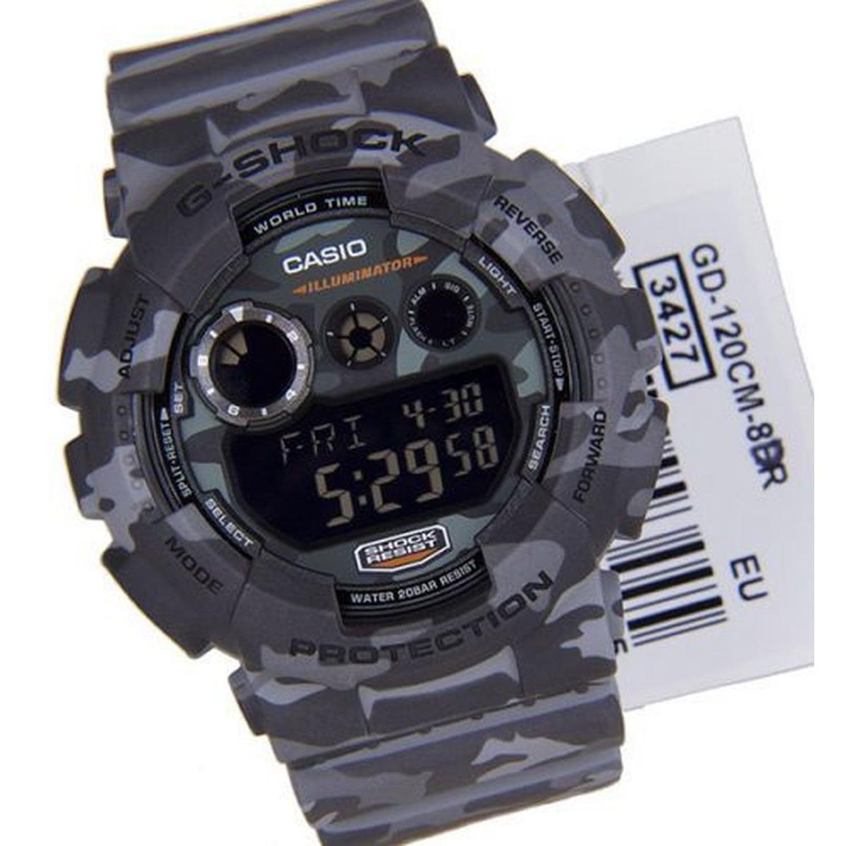 abf65ebaf42 relógio casio g-shock camuflado masculino gd-120cm-8dr. Carregando zoom.