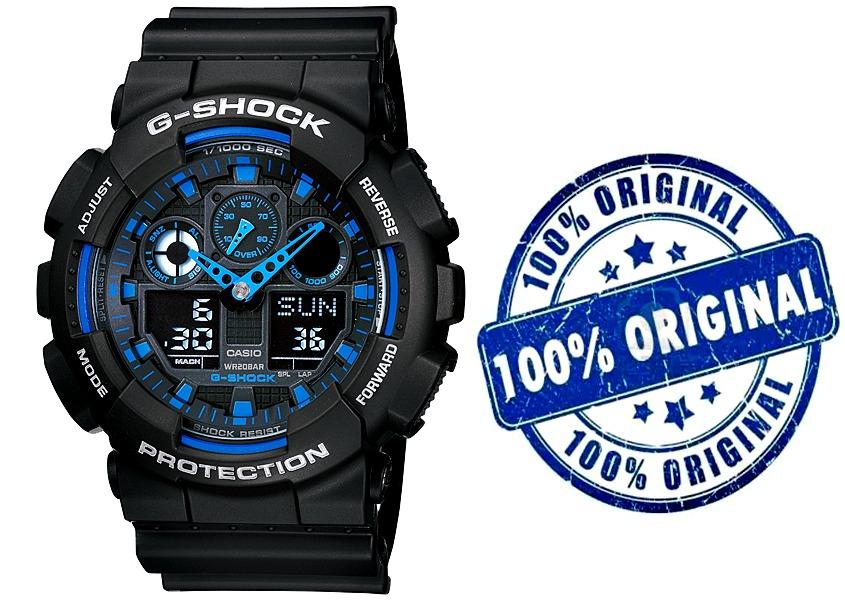 422d21cac11 Relógio Casio G-shock Ga-100 1a2 Preto azul Original C Caixa - R  418