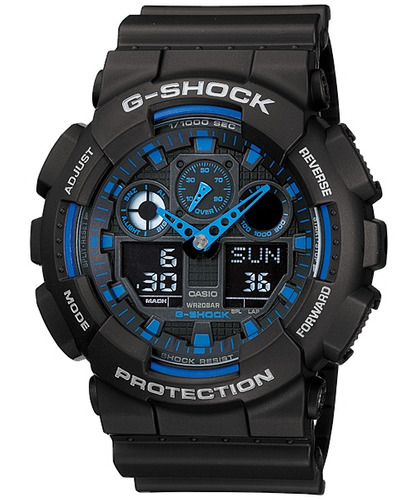 relógio casio g-shock ga-100-1a2dr masculino analóg. digital