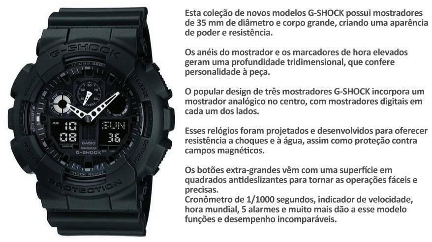 19d5de0845d relógio casio g-shock ga-100 preto a prova dágua 200 metros. Carregando