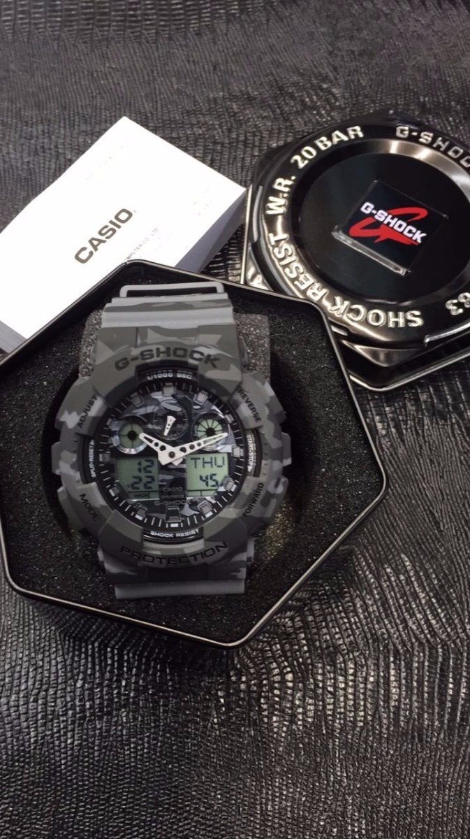 8c023a6fed3 relógio casio g-shock ga 100 wr200 h.mundial 5 alarmes pt 03. Carregando  zoom.