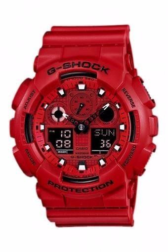 64b8262de89 Relógio Casio G-shock Ga-100c-4 Wr200 H.mundial Vermelho - R ...