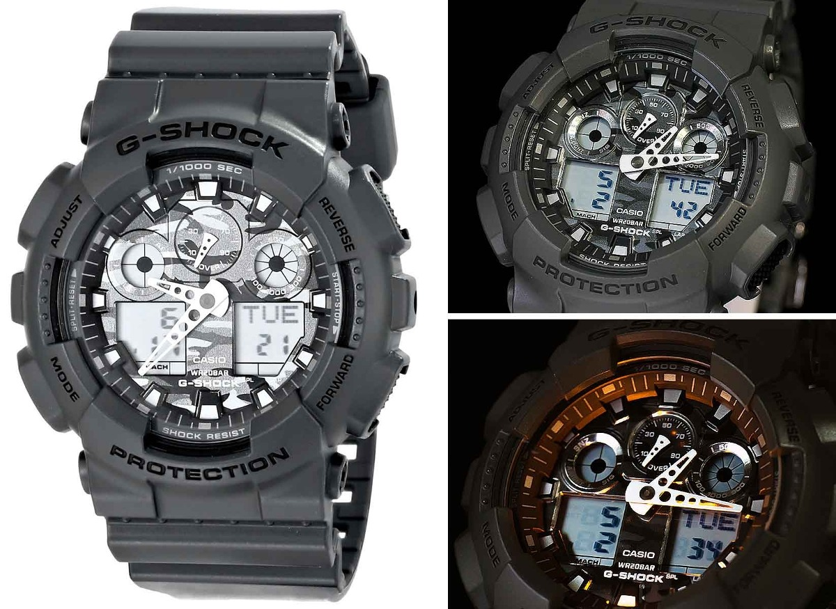 15c4911bd92 relógio casio g-shock ga-100cf-8adr  camuflado. Carregando zoom.
