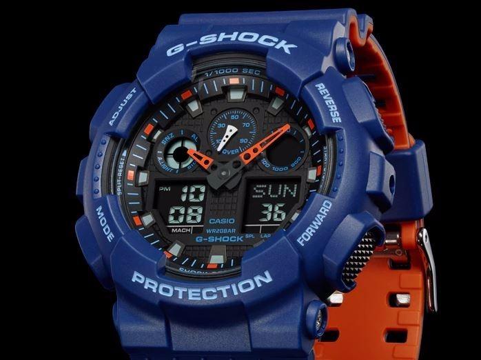 8656617da0b Relogio Casio G-shock Ga-100l-2a Azul Original Novo Ga100 - R  449 ...
