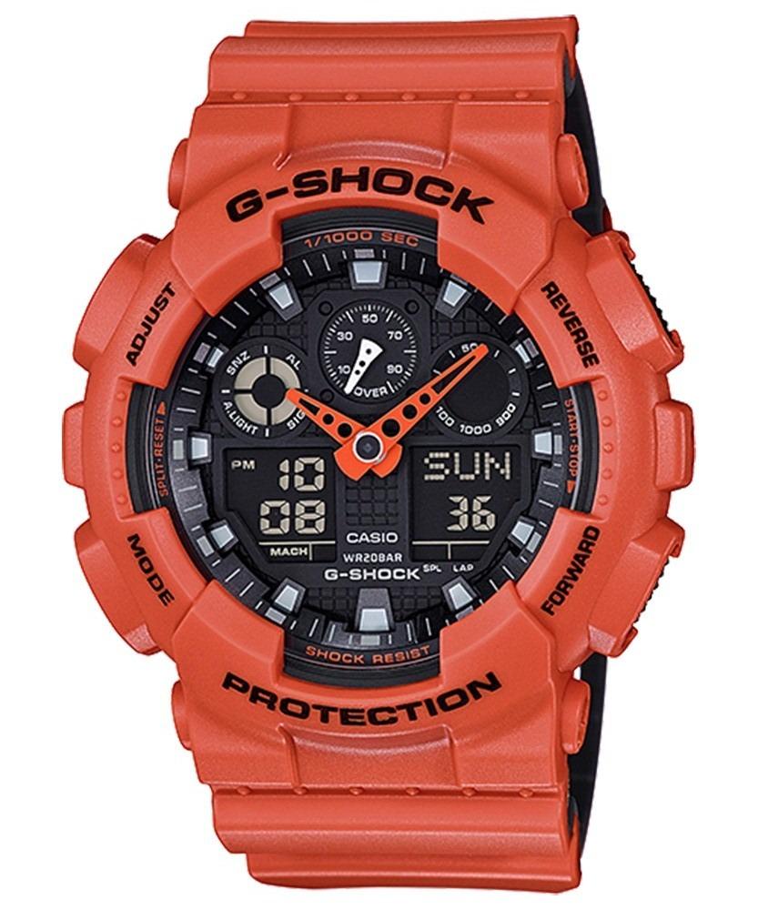 6fa0e59c18b relógio casio g-shock ga-100l-4adr laranja - unico - azul . Carregando zoom.