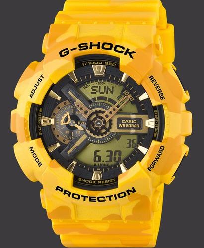 relogio casio g-shock ga-110 mc-9 camuflado 5 alarmes h.mundial 200m a